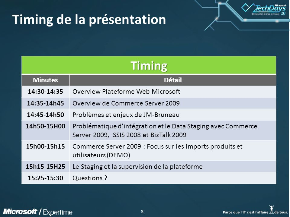 3 / Timing de la présentation Timing MinutesDétail 14:30-14:35Overview Plateforme Web Microsoft 14:35-14h45Overview de Commerce Server 2009 14:45-14h5