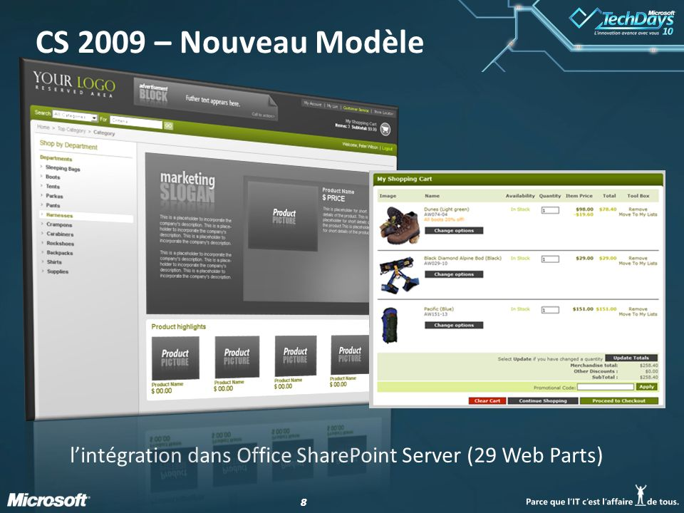 88 CS 2009 – Nouveau Modèle lintégration dans Office SharePoint Server (29 Web Parts)