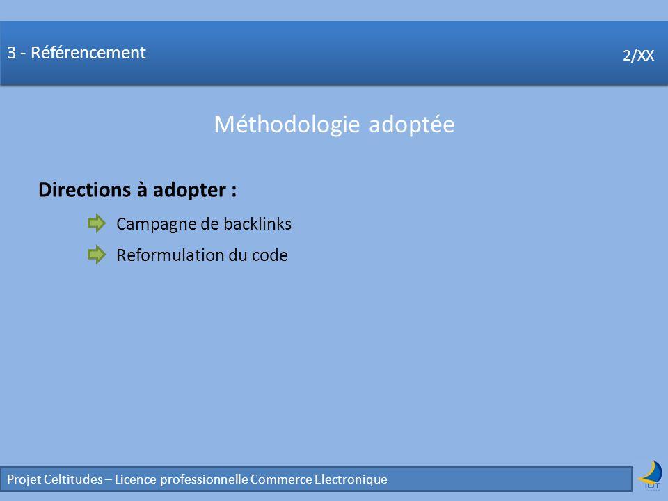 Concurrence Projet Celtitudes – Licence professionnelle Commerce Electronique 2/XX 3 - Référencement Méthodologie adoptée 2/XX Directions à adopter :