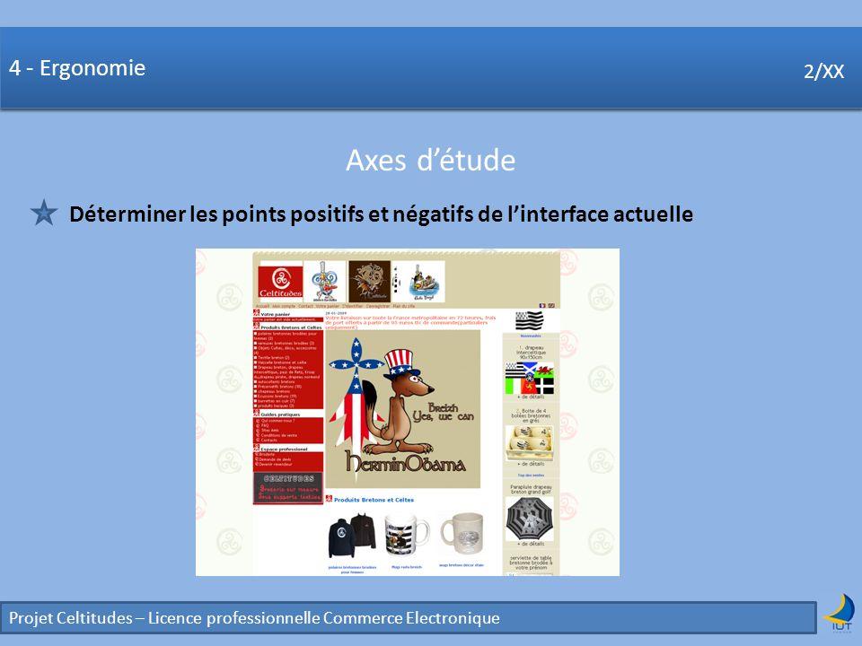 Concurrence Projet Celtitudes – Licence professionnelle Commerce Electronique 2/XX 4 - Ergonomie Axes détude 2/XX Déterminer les points positifs et né