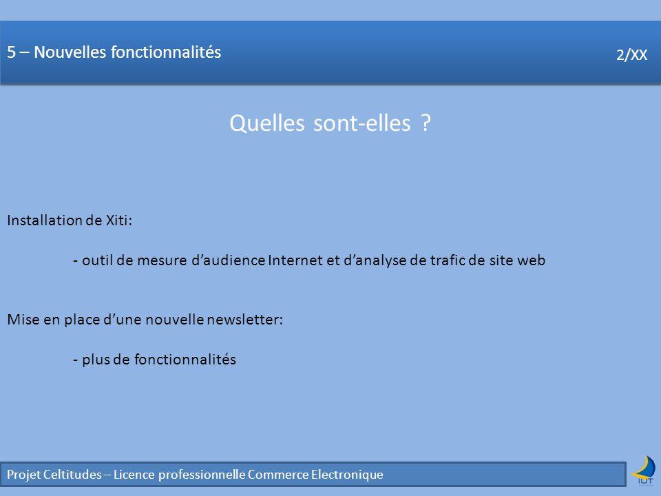 Concurrence Projet Celtitudes – Licence professionnelle Commerce Electronique 2/XX 5 – Nouvelles fonctionnalités Quelles sont-elles ? 2/XX Installatio