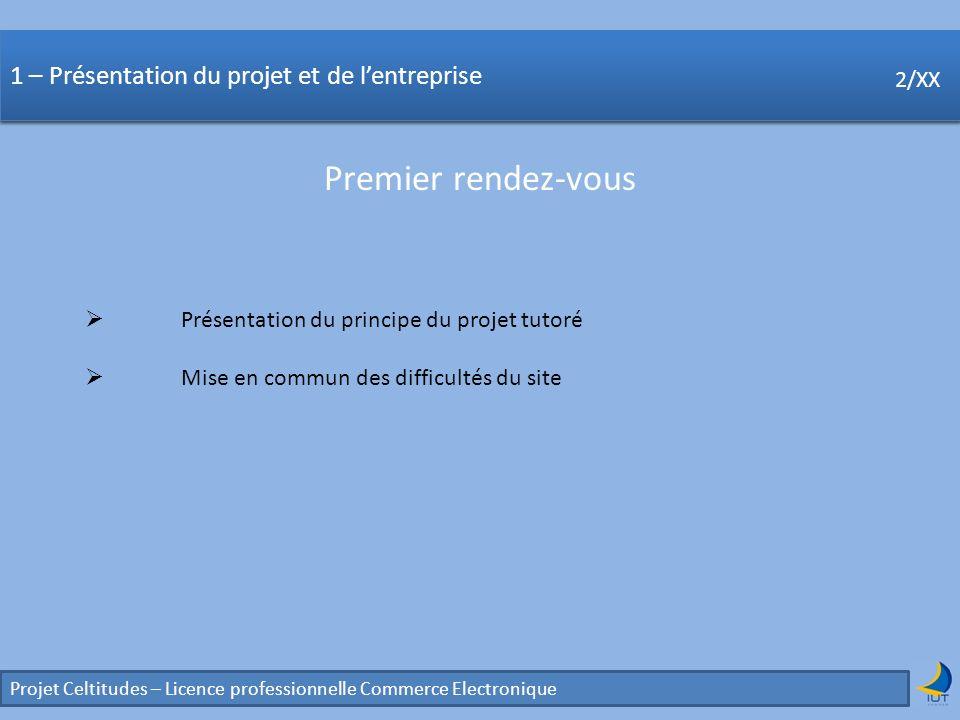 Concurrence Projet Celtitudes – Licence professionnelle Commerce Electronique 2/XX 1 – Présentation du projet et de lentreprise Premier rendez-vous 2/