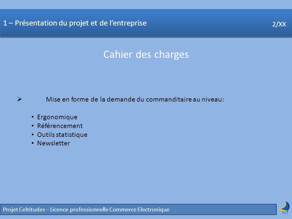 Concurrence Projet Celtitudes – Licence professionnelle Commerce Electronique 2/XX 1 – Présentation du projet et de lentreprise Cahier des charges 2/X