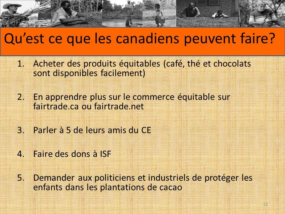Quest ce que les canadiens peuvent faire? 1.Acheter des produits équitables (café, thé et chocolats sont disponibles facilement) 2.En apprendre plus s