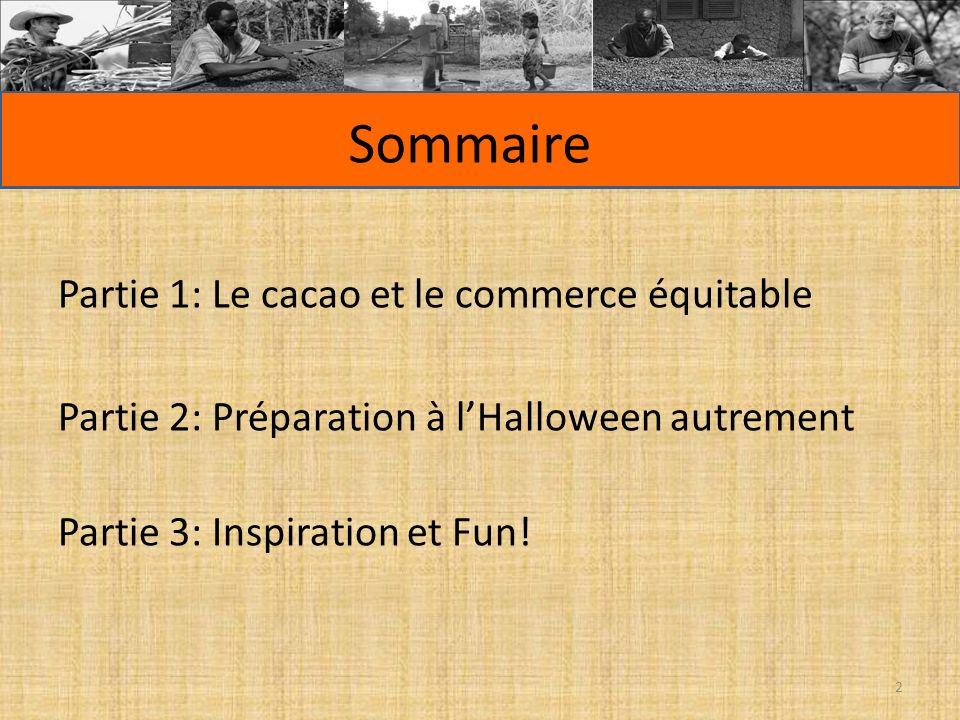 Sommaire Partie 1: Le cacao et le commerce équitable Partie 2: Préparation à lHalloween autrement Partie 3: Inspiration et Fun! 2
