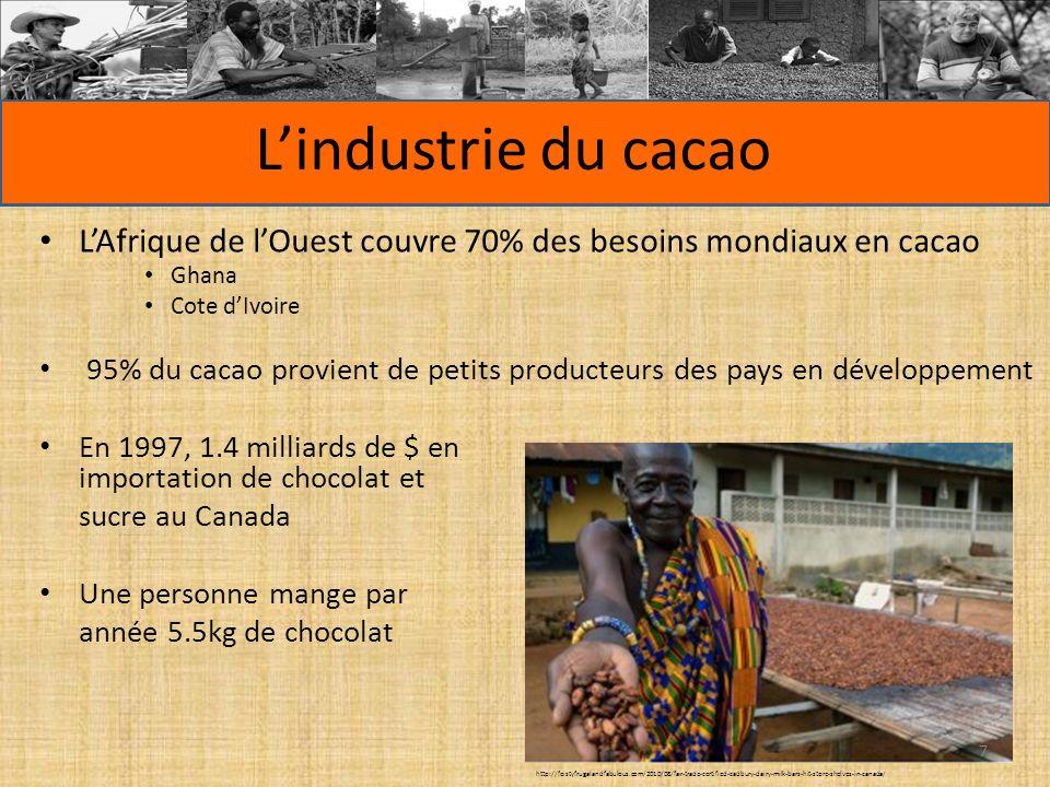 LAfrique de lOuest couvre 70% des besoins mondiaux en cacao Ghana Cote dIvoire 95% du cacao provient de petits producteurs des pays en développement En 1997, 1.4 milliards de $ en importation de chocolat et sucre au Canada Une personne mange par année 5.5kg de chocolat Lindustrie du cacao http://feistyfrugalandfabulous.com/2010/08/fair-trade-certified-cadbury-dairy-milk-bars-hit-store-shelves-in-canada/ 7