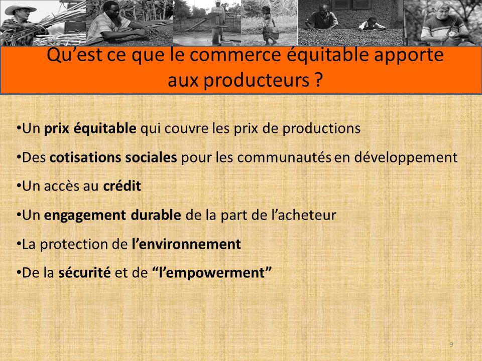 Quest ce que le commerce équitable apporte aux producteurs ? Un prix équitable qui couvre les prix de productions Des cotisations sociales pour les co