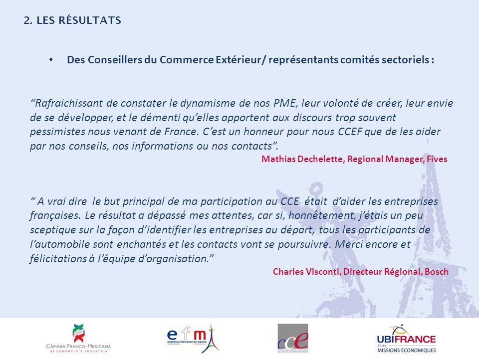 Des Conseillers du Commerce Extérieur/ représentants comités sectoriels : Rafraichissant de constater le dynamisme de nos PME, leur volonté de créer, leur envie de se développer, et le démenti quelles apportent aux discours trop souvent pessimistes nous venant de France.