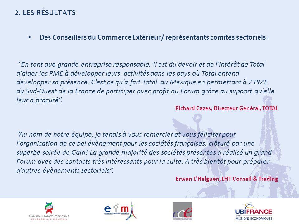 Des Conseillers du Commerce Extérieur/ représentants comités sectoriels : En tant que grande entreprise responsable, il est du devoir et de l intérêt de Total d aider les PME à développer leurs activités dans les pays où Total entend développer sa présence.