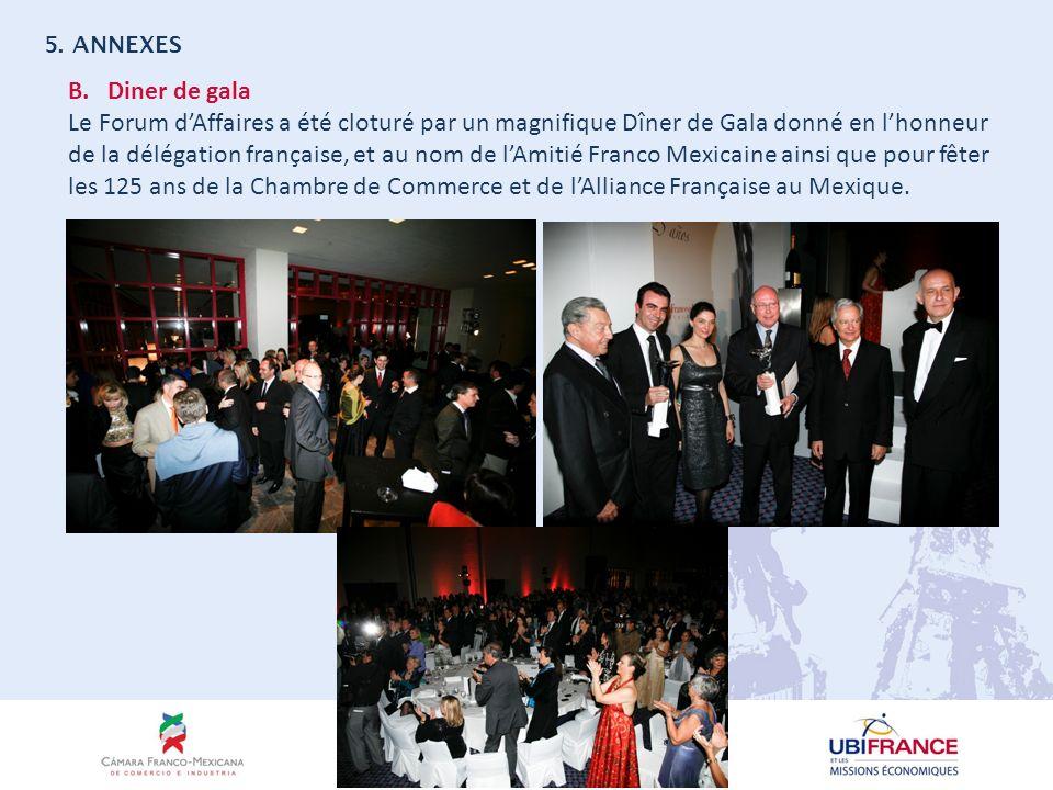B.Diner de gala Le Forum dAffaires a été cloturé par un magnifique Dîner de Gala donné en lhonneur de la délégation française, et au nom de lAmitié Franco Mexicaine ainsi que pour fêter les 125 ans de la Chambre de Commerce et de lAlliance Française au Mexique.