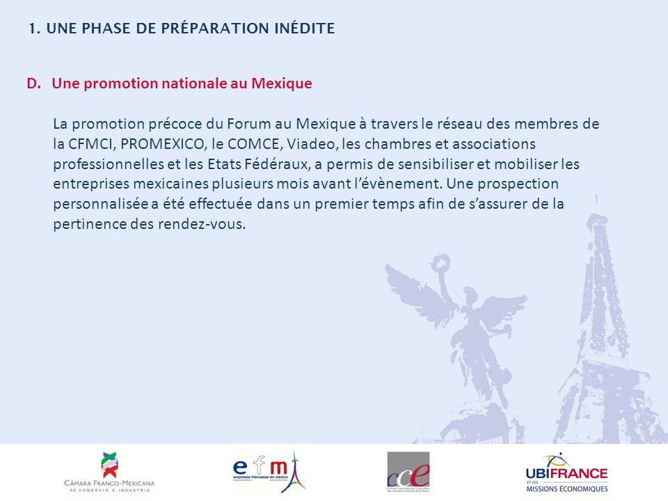 D.Une promotion nationale au Mexique La promotion précoce du Forum au Mexique à travers le réseau des membres de la CFMCI, PROMEXICO, le COMCE, Viadeo, les chambres et associations professionnelles et les Etats Fédéraux, a permis de sensibiliser et mobiliser les entreprises mexicaines plusieurs mois avant lévènement.