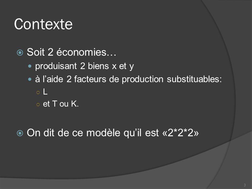 Contexte Soit 2 économies… produisant 2 biens x et y à laide 2 facteurs de production substituables: L et T ou K.