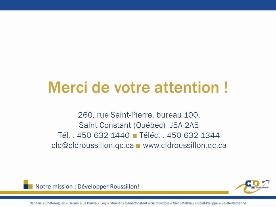 Merci de votre attention ! 260, rue Saint-Pierre, bureau 100, Saint-Constant (Québec) J5A 2A5 Tél. : 450 632-1440 Téléc. : 450 632-1344 cld@cldroussil