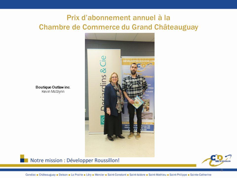 Prix dabonnement annuel à la Chambre de Commerce du Grand Châteauguay 8 Boutique Outlaw inc. Kevin McGlynn