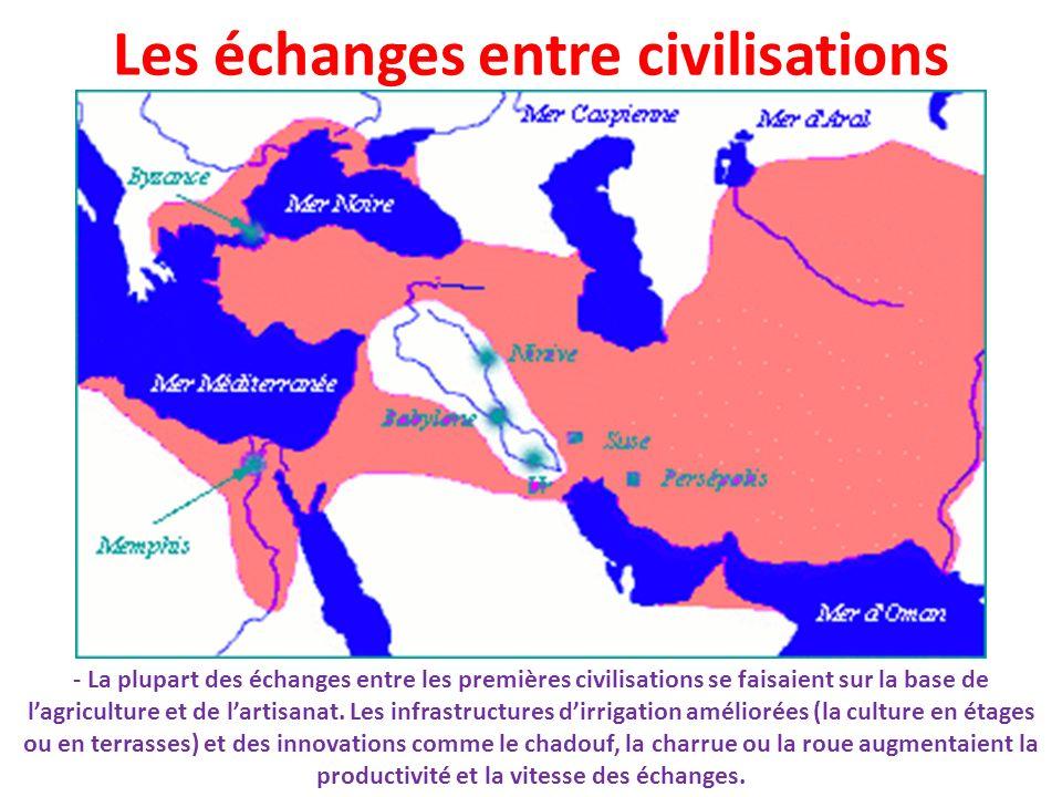 Les échanges entre civilisations - La plupart des échanges entre les premières civilisations se faisaient sur la base de lagriculture et de lartisanat
