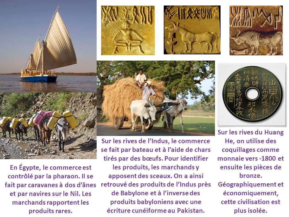 En Égypte, le commerce est contrôlé par la pharaon. Il se fait par caravanes à dos dânes et par navires sur le Nil. Les marchands rapportent les produ