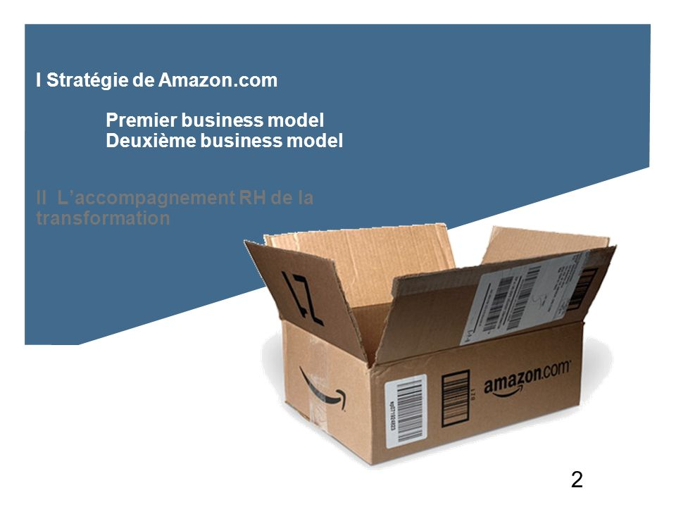 2 I Stratégie de Amazon.com Premier business model Deuxième business model II Laccompagnement RH de la transformation