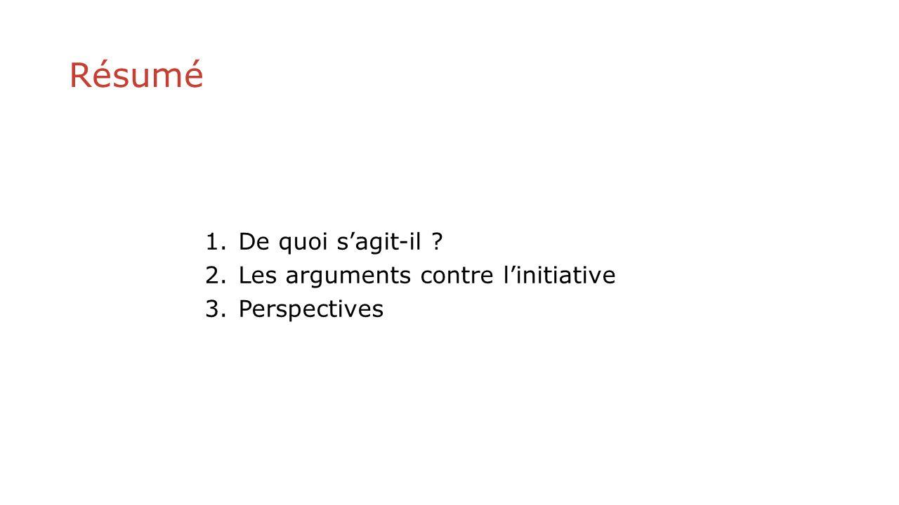 Résumé 1.De quoi sagit-il ? 2.Les arguments contre linitiative 3.Perspectives