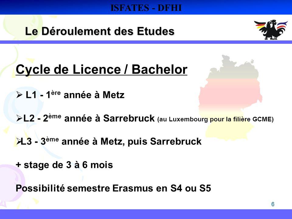 6 Le Déroulement des Etudes ISFATES - DFHI Cycle de Licence / Bachelor L1 - 1 ère année à Metz L2 - 2 ème année à Sarrebruck (au Luxembourg pour la fi