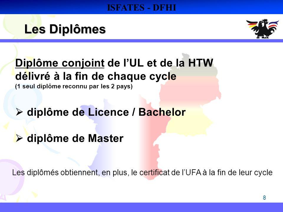 8 Les Diplômes ISFATES - DFHI Diplôme conjoint de lUL et de la HTW délivré à la fin de chaque cycle (1 seul diplôme reconnu par les 2 pays) diplôme de