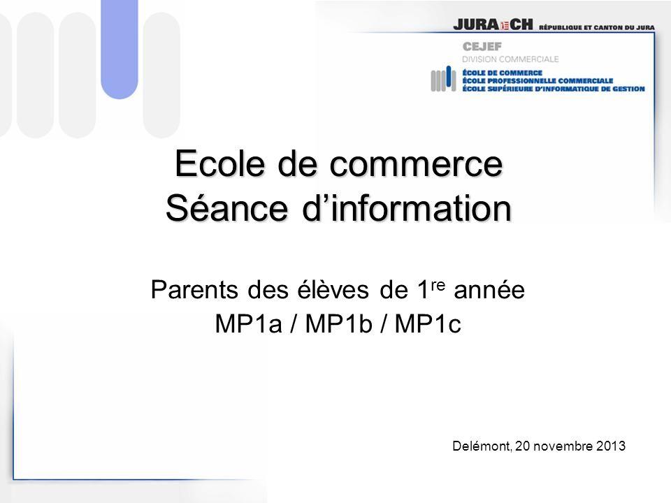 Ecole de commerce Séance dinformation Parents des élèves de 1 re année MP1a / MP1b / MP1c Delémont, 20 novembre 2013