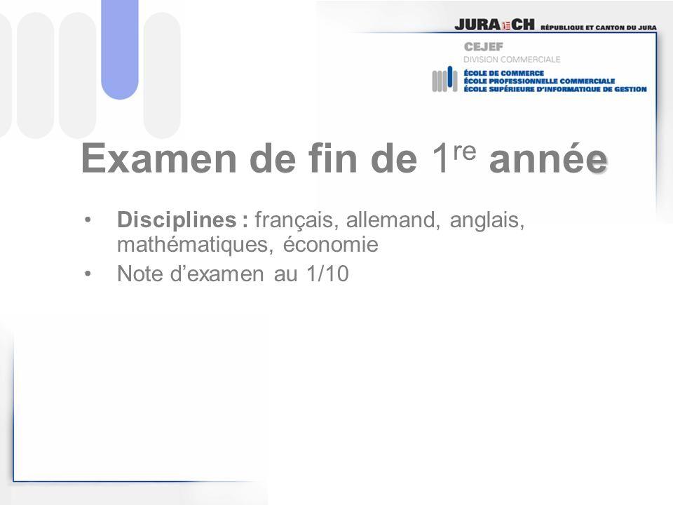 e Examen de fin de 1 re année Disciplines : français, allemand, anglais, mathématiques, économie Note dexamen au 1/10