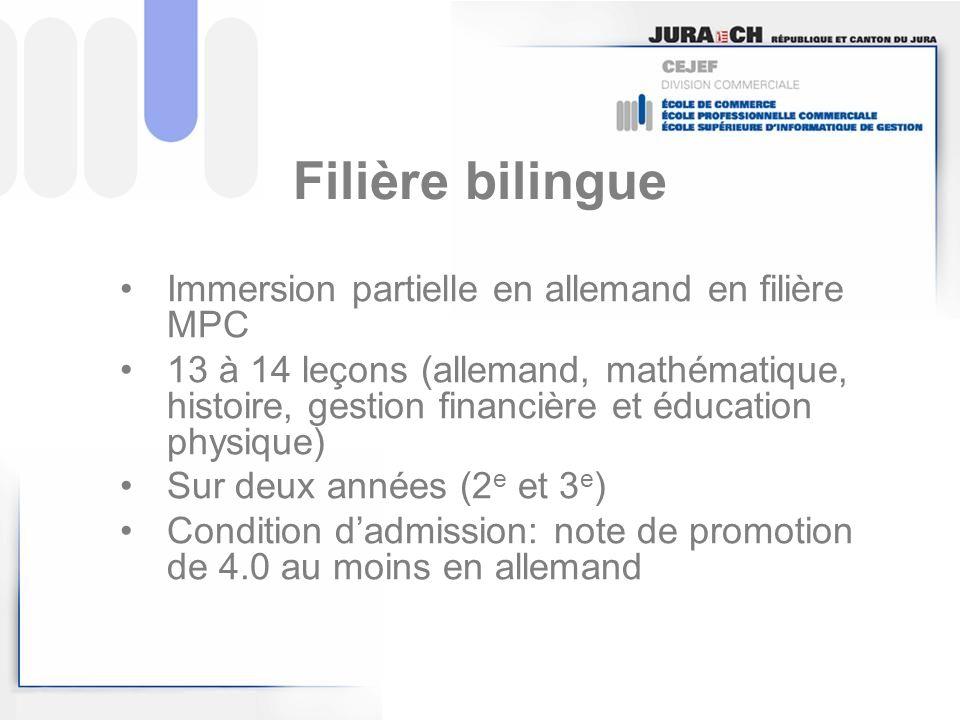 Filière bilingue Immersion partielle en allemand en filière MPC 13 à 14 leçons (allemand, mathématique, histoire, gestion financière et éducation phys