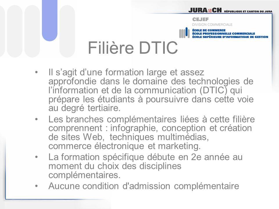 Filière DTIC Il sagit dune formation large et assez approfondie dans le domaine des technologies de linformation et de la communication (DTIC) qui pré