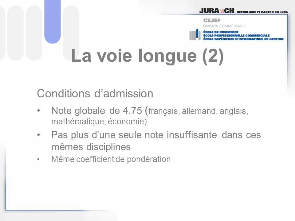 La voie longue (2) Conditions dadmission Note globale de 4.75 ( français, allemand, anglais, mathématique, économie) Pas plus dune seule note insuffis