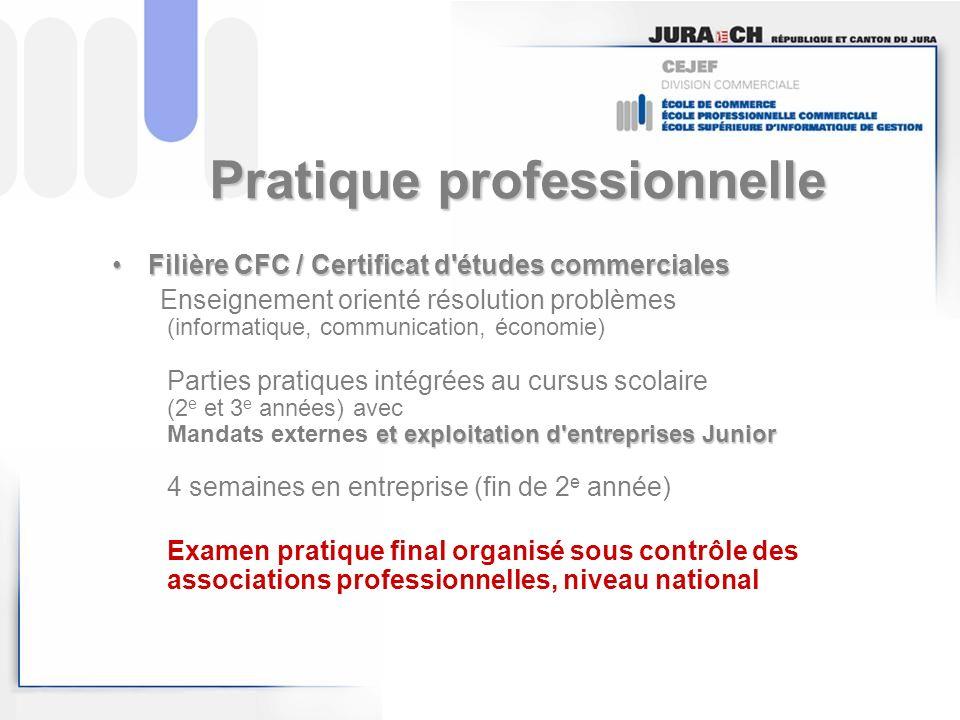 Pratique professionnelle Filière CFC / Certificat d'études commercialesFilière CFC / Certificat d'études commerciales et exploitation d'entreprises Ju