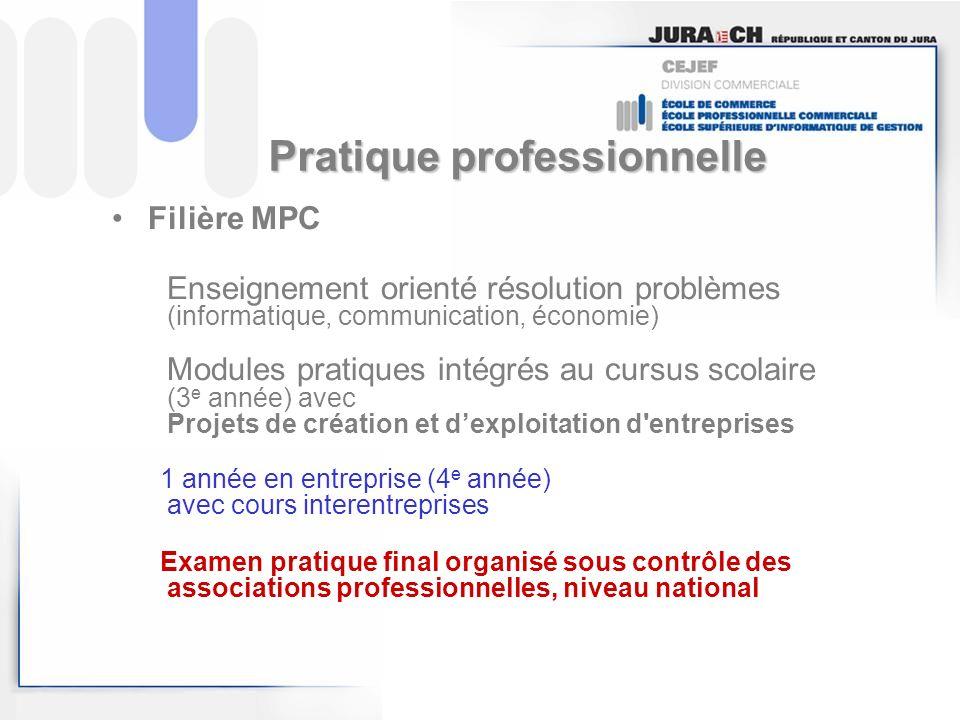 Pratique professionnelle Filière MPC Enseignement orienté résolution problèmes (informatique, communication, économie) Modules pratiques intégrés au c