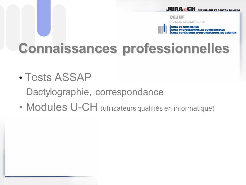 Connaissances professionnelles Tests ASSAP Dactylographie, correspondance Modules U-CH (utilisateurs qualifiés en informatique)