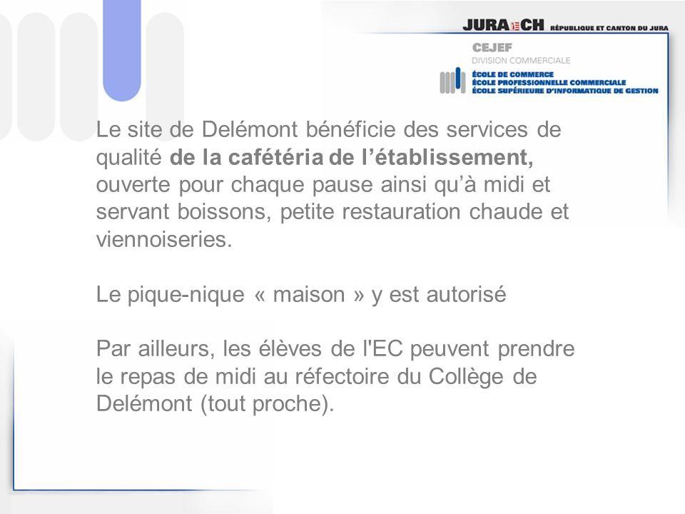Le site de Delémont bénéficie des services de qualité de la cafétéria de létablissement, ouverte pour chaque pause ainsi quà midi et servant boissons,