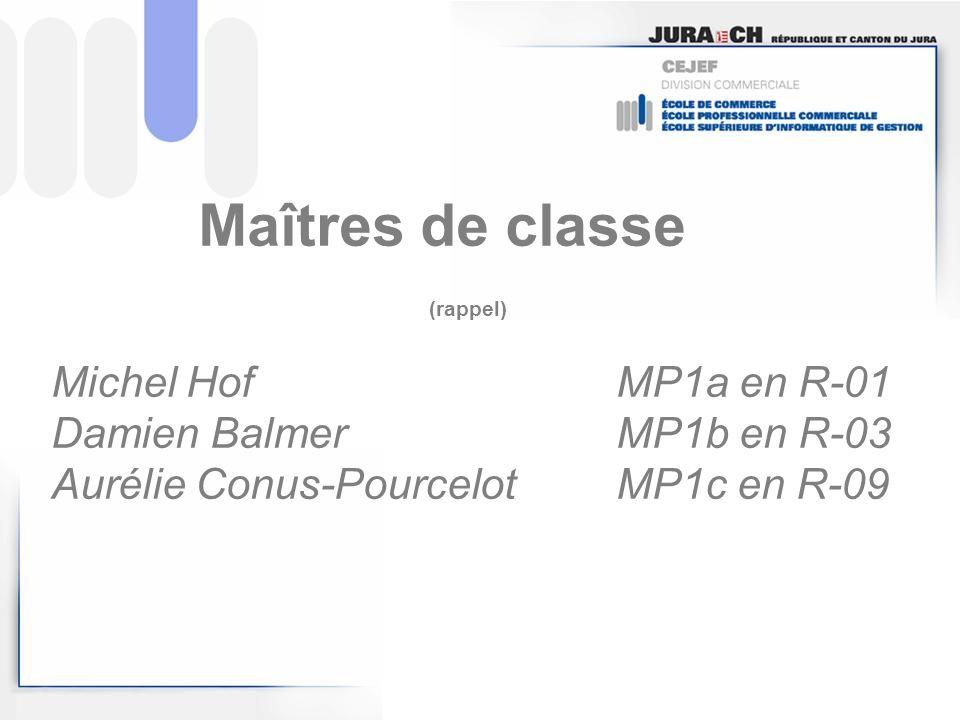 Maîtres de classe (rappel) Michel HofMP1a en R-01 Damien BalmerMP1b en R-03 Aurélie Conus-PourcelotMP1c en R-09