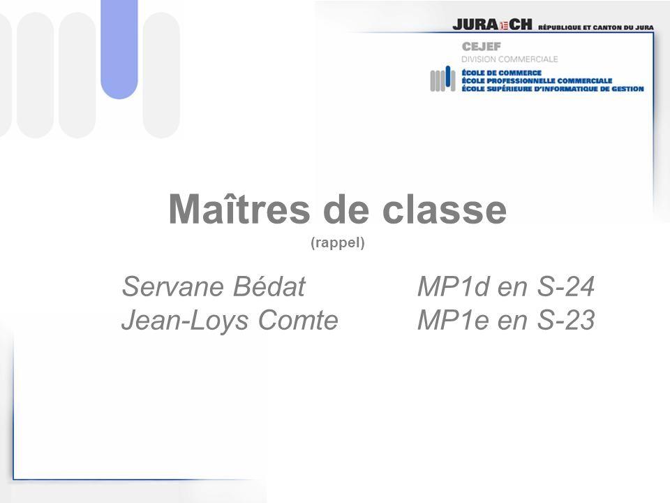 Maîtres de classe (rappel) Servane BédatMP1d en S-24 Jean-Loys ComteMP1e en S-23