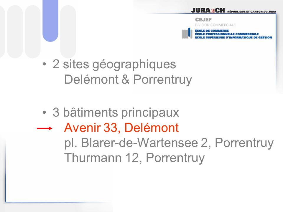2 sites géographiques Delémont & Porrentruy 3 bâtiments principaux Avenir 33, Delémont pl. Blarer-de-Wartensee 2, Porrentruy Thurmann 12, Porrentruy