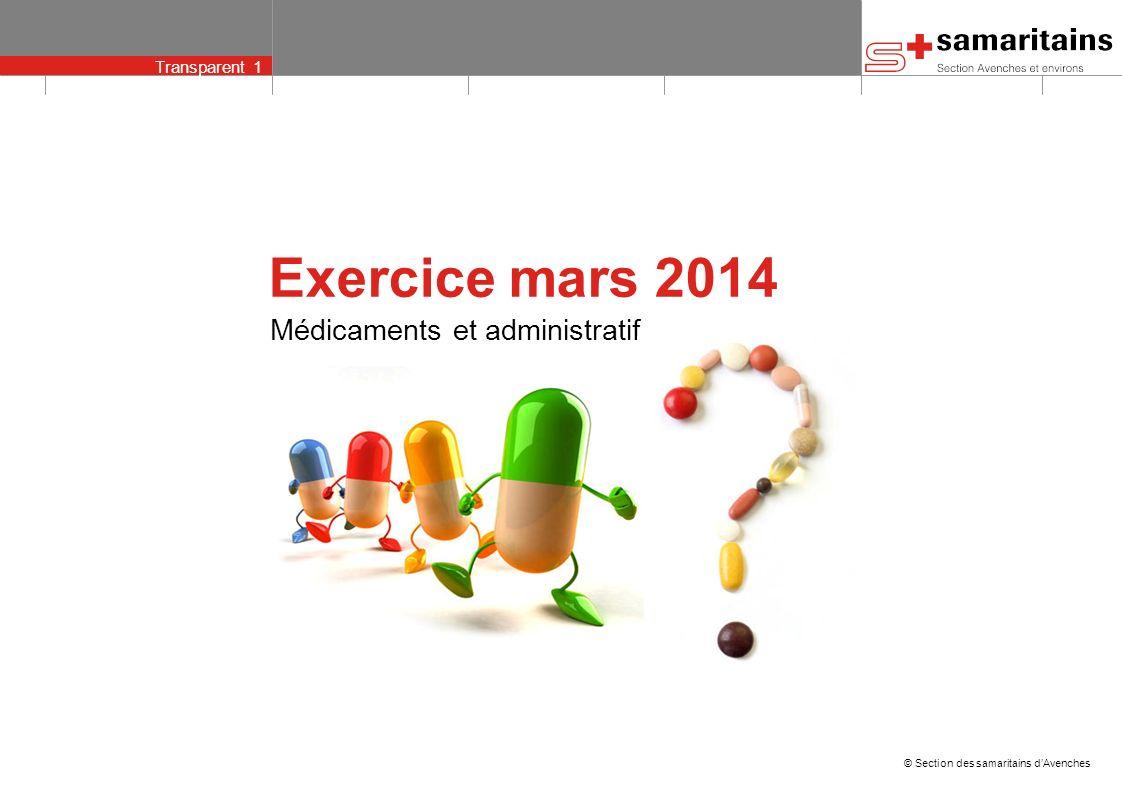 Transparent 1 © Section des samaritains dAvenches Médicaments et administratif Exercice mars 2014