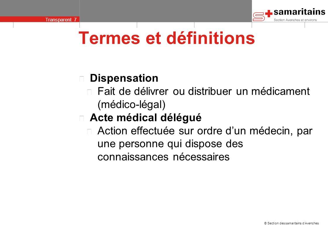 © Section des samaritains dAvenches Transparent 6 Termes et définitions Diagnostic Identification dune maladie à partir de symptômes Prescription Reco