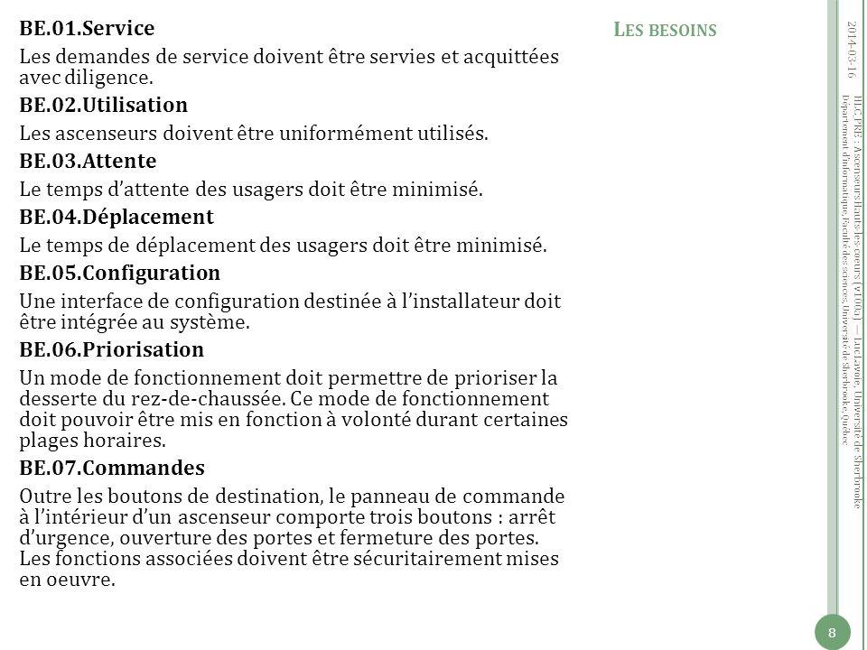 Département dinformatique, Faculté des sciences, Université de Sherbrooke, Québec BE.01.Service Les demandes de service doivent être servies et acquittées avec diligence.