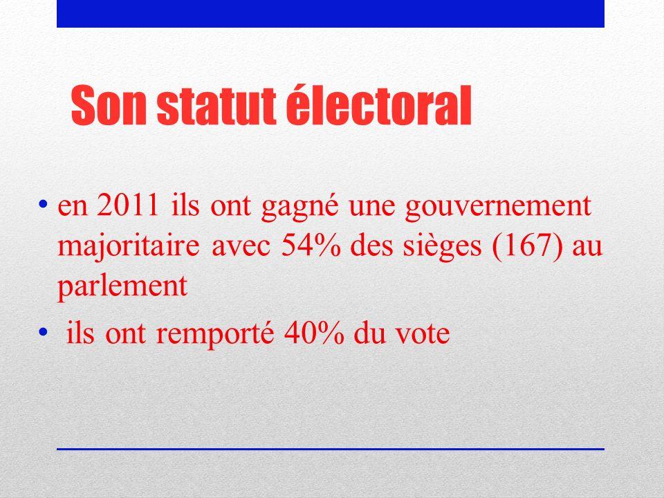 Son statut électoral en 2011 ils ont gagné une gouvernement majoritaire avec 54% des sièges (167) au parlement ils ont remporté 40% du vote