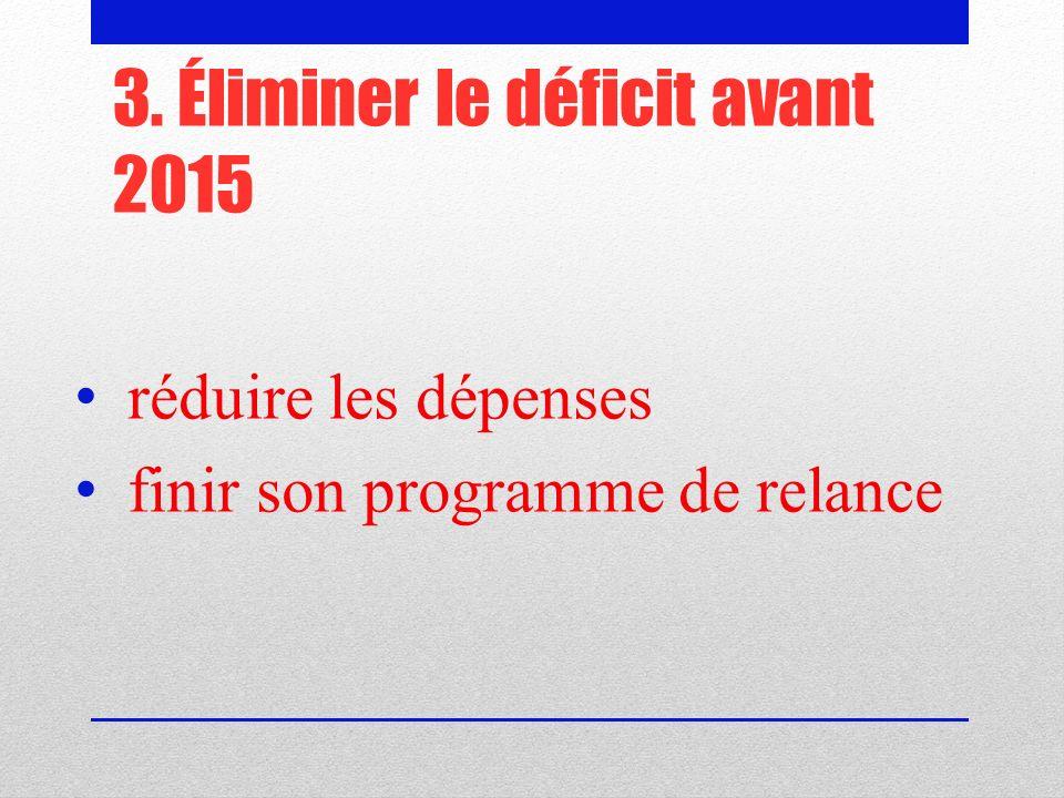 3. Éliminer le déficit avant 2015 réduire les dépenses finir son programme de relance