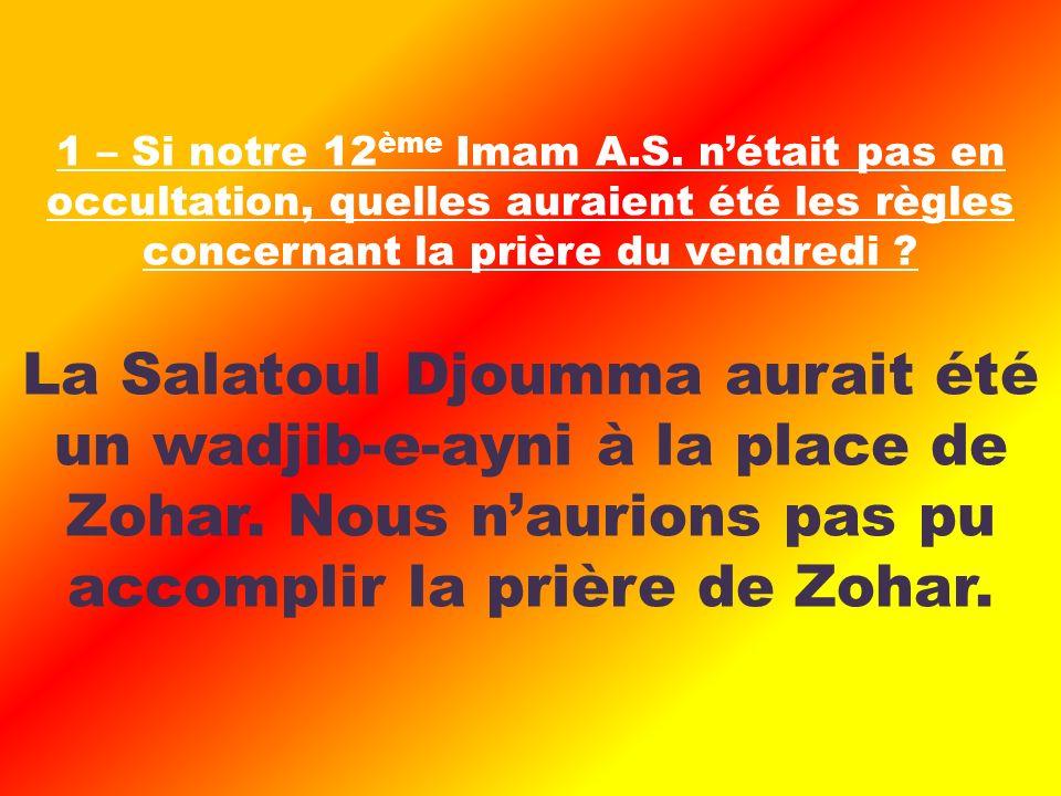 La Salatoul Djoumma aurait été un wadjib-e-ayni à la place de Zohar.