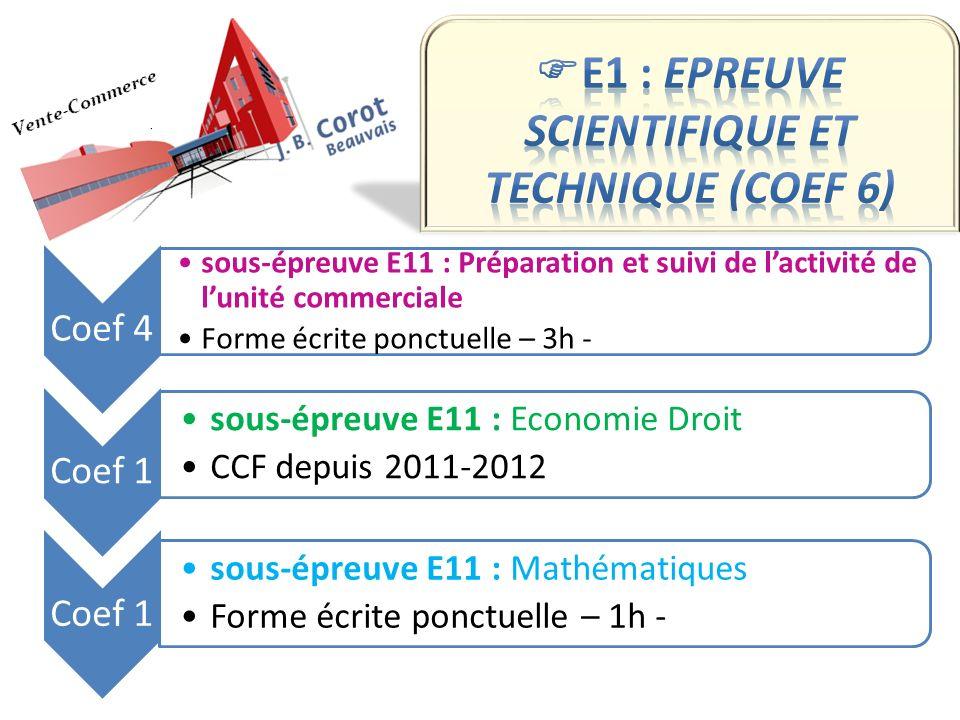 Coef 4 sous-épreuve E11 : Préparation et suivi de lactivité de lunité commerciale Forme écrite ponctuelle – 3h - Coef 1 sous-épreuve E11 : Economie Dr