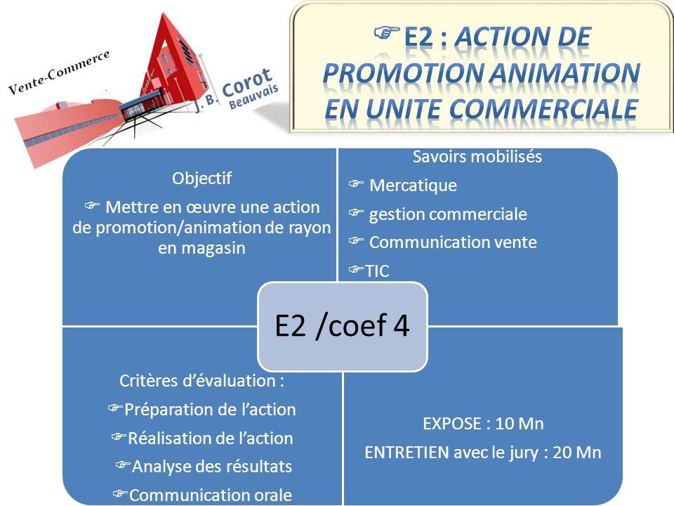 Objectif Mettre en œuvre une action de promotion/animation de rayon en magasin Savoirs mobilisés Mercatique gestion commerciale Communication vente TI