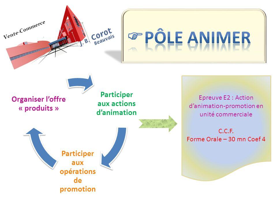 Participer aux actions danimation Participer aux opérations de promotion Organiser loffre « produits » Epreuve E2 : Action danimation-promotion en uni