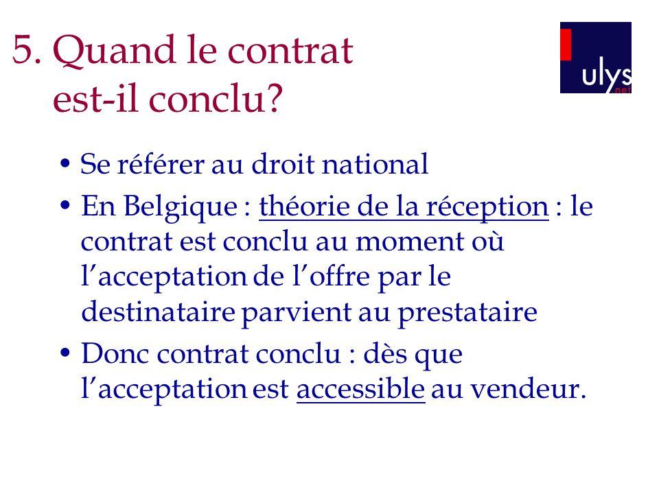 Se référer au droit national En Belgique : théorie de la réception : le contrat est conclu au moment où lacceptation de loffre par le destinataire par
