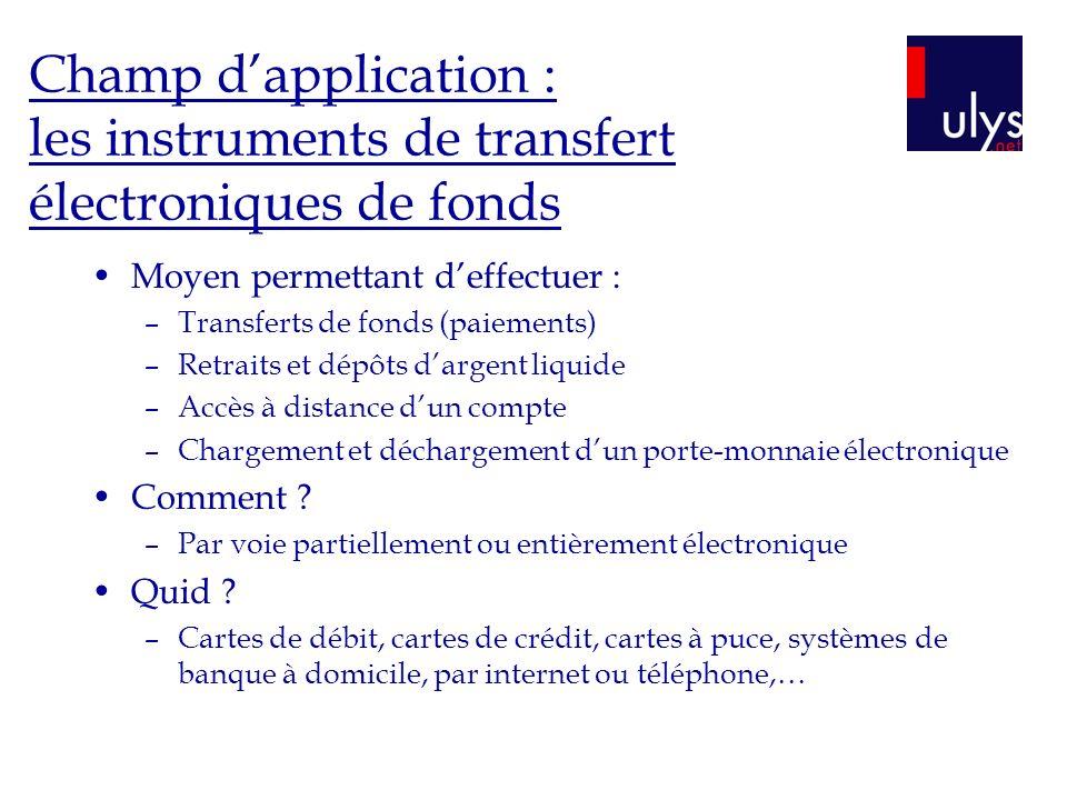 Champ dapplication : les instruments de transfert électroniques de fonds Moyen permettant deffectuer : –Transferts de fonds (paiements) –Retraits et d