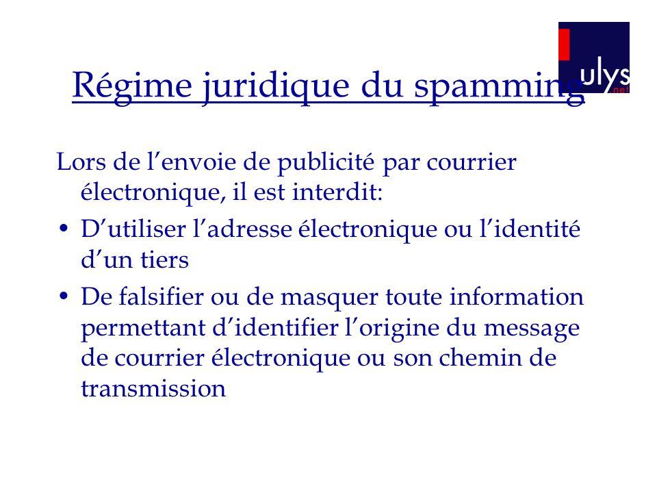 Régime juridique du spamming Lors de lenvoie de publicité par courrier électronique, il est interdit: Dutiliser ladresse électronique ou lidentité dun
