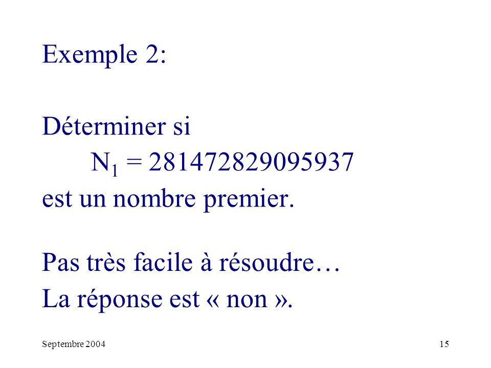 Septembre 200415 Exemple 2: Déterminer si N 1 = 281472829095937 est un nombre premier.