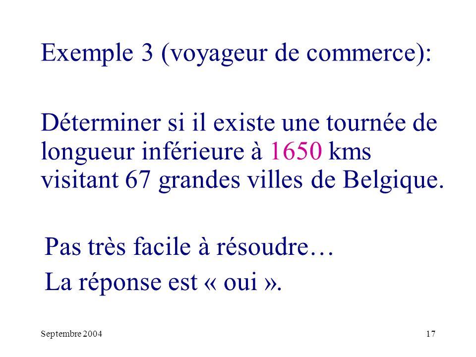Septembre 200417 Exemple 3 (voyageur de commerce): Déterminer si il existe une tournée de longueur inférieure à 1650 kms visitant 67 grandes villes de Belgique.
